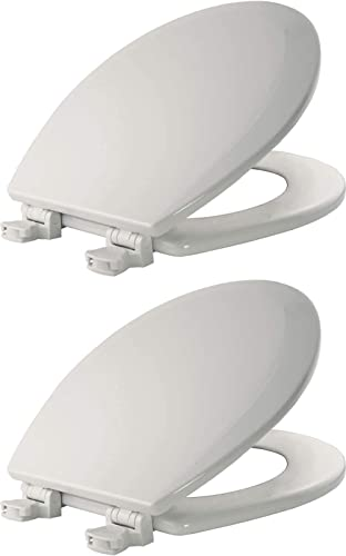 wholesale BEMIS 500EC 000 Toilet Seat with Easy outlet sale Clean & Change Hinges, ROUND, Durable Enameled 2021 Wood, White - 2 Pack sale