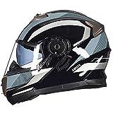 Casco de motocicleta modular Crash DOT ECE aprobado - YEMA YM-925 Casco de motocicleta de carreras de cara completa con visera bluetooth para G,L