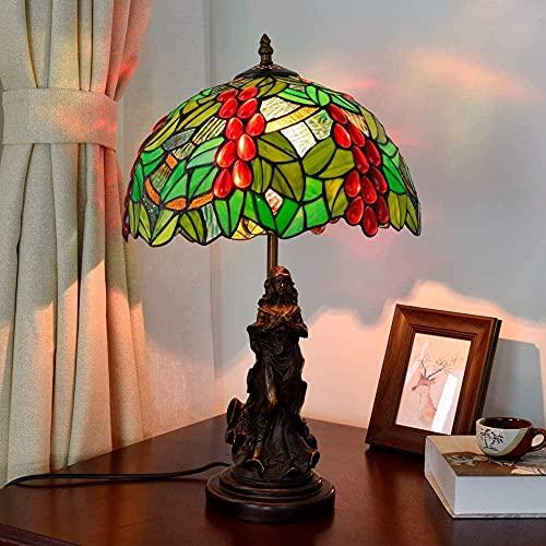 Lámpara de mesa de vidrio de color Tiffany de 12 pulgadas europeo Retro verde uva jardín sala de estar dormitorio