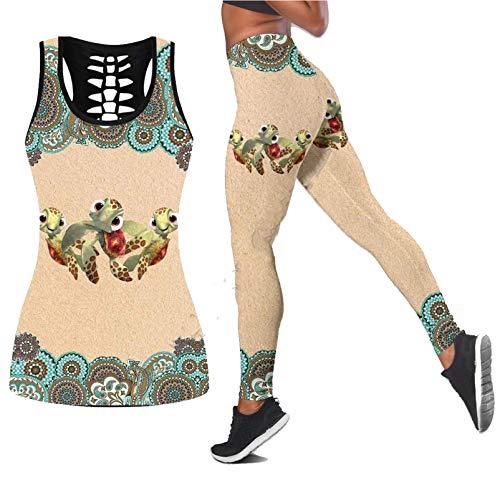 E.Rirevce Tortuga de mar Polinesio 3D Impreso Hollow out Tank Legging Traje Mujeres Sexy Yoga Ropa