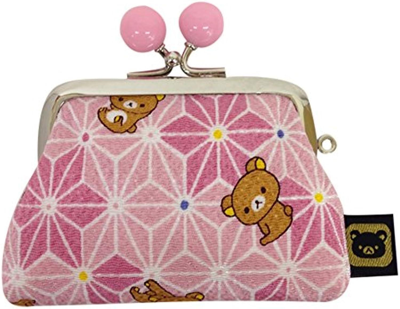 Relax crepe hemp Pattern   beads purse 2.5 square purse pink