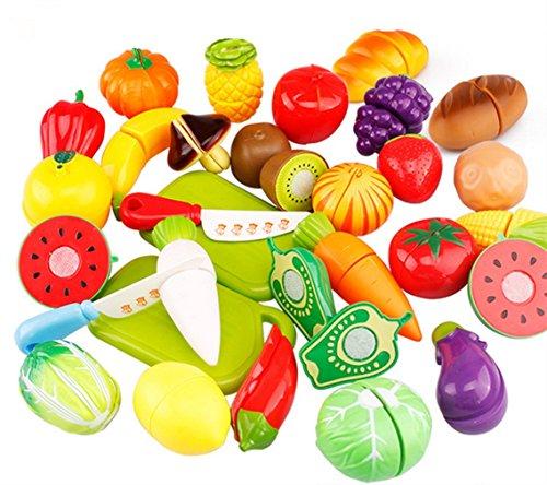 Dosige 29 PCS Jeu D'imitation Jouets de Fruits Légumes Enfants Jouet Educatif Jouets de Cuisine Ensemble