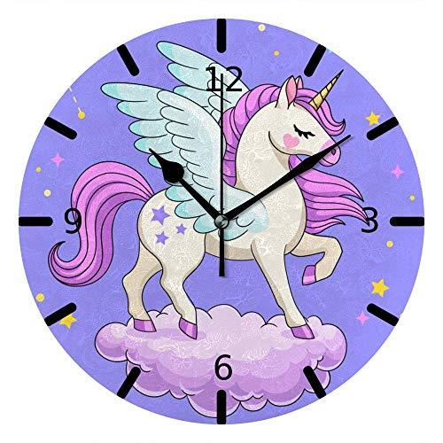 Runde Wanduhr Lautlos, Nicht tickend, batteriebetrieben, Einhorn Pegasus Sternbilder Halbmond Sterne Lila für Büro & Zuhause, 9,88 Zoll