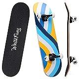 WhiteFang Skateboards 31' Complete Skateboard Double Kick Skate Board 7 Layer Canadian Maple Deck Skateboard for Kids and Beginners(Skate-Lane)