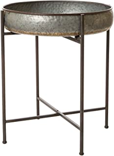 Glitzhome Rustic Tray Accent Galvanized End Table Metal Sofa Side Table (Shelf Tray)