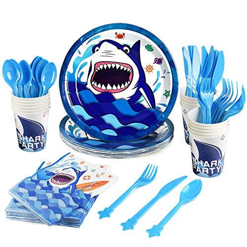 WERNNSAI Conjunto de Artículos para fiestas Tiburón - Vajilla de Fiesta para Cumpleaños Niños Servilletas Platos Copas Sirve 16 Invitados