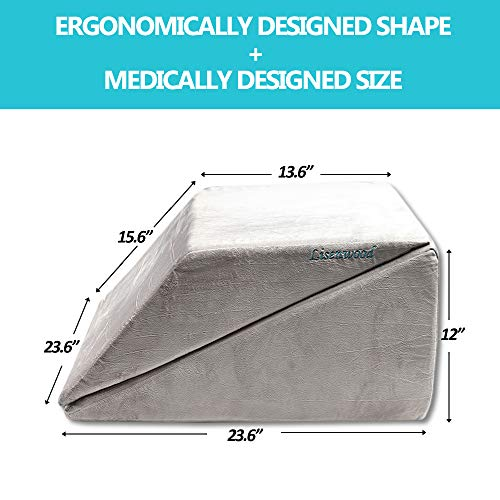 Lisenwood-Foam-Bed-Wedge-Pillow-Set-Reading-Pillow-Back-Support-Wedge-Pillow-for-Sleeping-2-Separated-Sit-Up-Pillows-for-Bed-Angled-Bed-Pillow-Triangle-Pillow-for-Back-and-Legs-Support