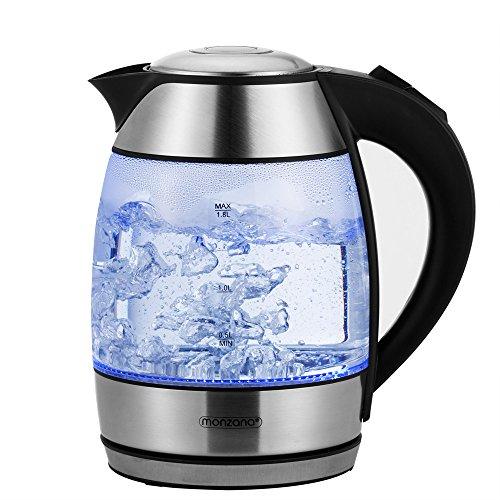 Wasserkocher 1,8L Teekocher Edelstahl Kocher Glas LED Beleuchtung kabellos 2200W BPA frei 360 Grad Basis Kalkfilter Tee