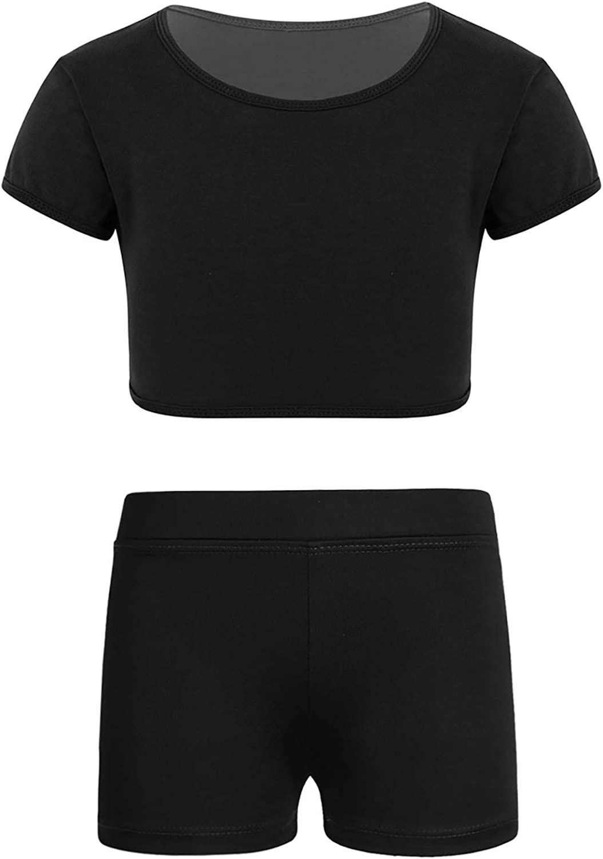 iiniim Kids Girls Athletic Short Sleeves T Shirt Crop Top and Elastic Shorts Set for Gymnastics Yoga Running Exercise