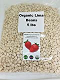 Lima Beans 5 Pounds Baby, Butter Beans USDA Certified Organic Non-GMO, Bulk...