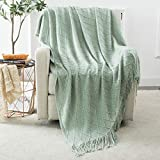 Cobedzy Aqua Throw Blanket with Tassels Textured Solid Decorative Knitted Throw Blanket for Couch Bed Sofa, 50' x 67'