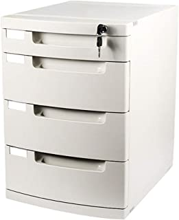 Color : White LC/_Kwn Desktop File Cabinet Office Storage Box Plastic with Lock Drawer Flat File Cabinets