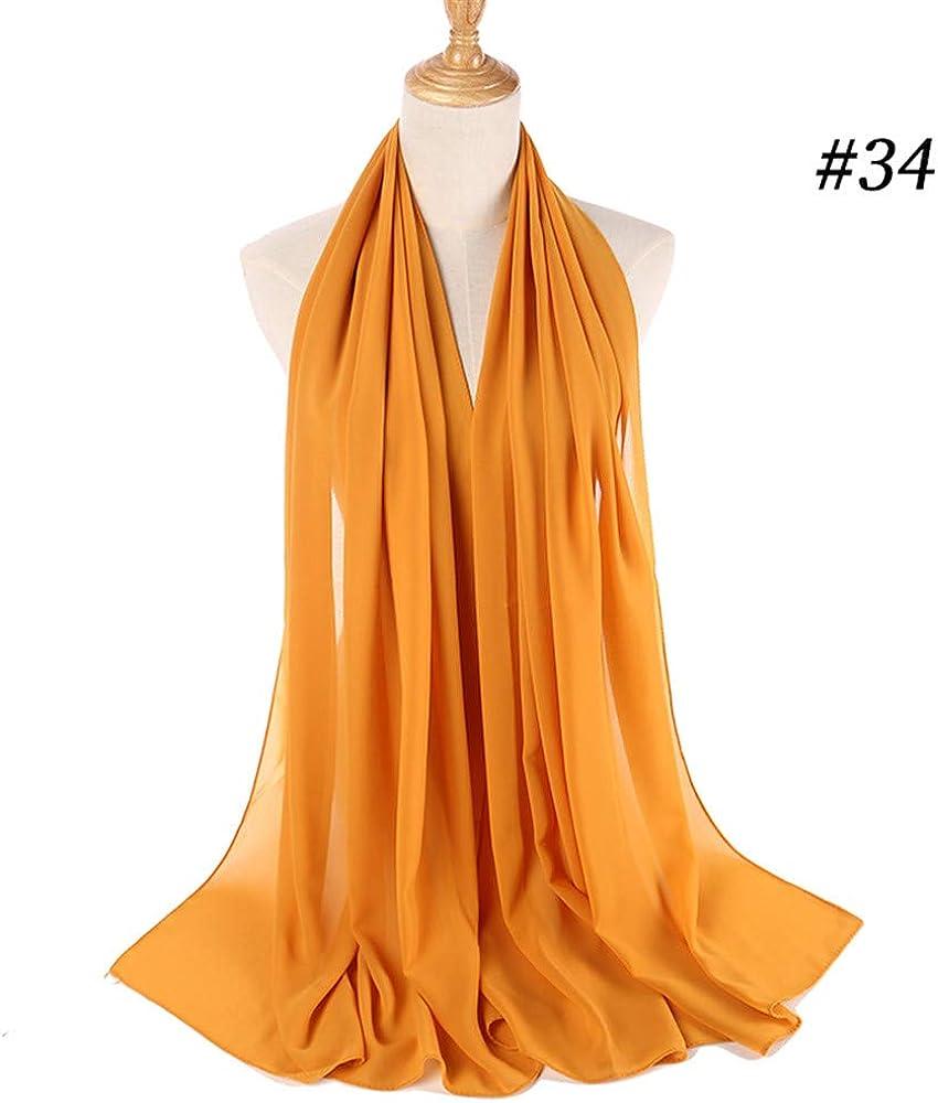 ZEELIY Muslim Hijab Frau Frauen Plain Bubble Chiffon Schal Chiffon Schal Hijab Wrap Printe Schals Stirnband Muslim Hijabs Y
