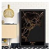 GIRDSS Alicante España Black & Gold City Light Maps Custom World City Map Carteles Impresiones de la Lona Arte de la Pared Decoración para el hogar-50X70cm sin Marco
