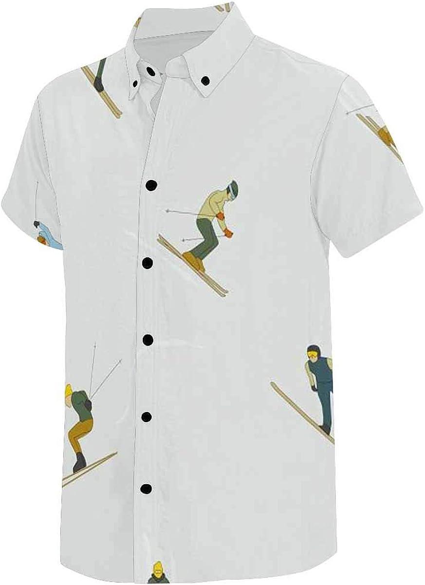 INTERESTPRINT Men's Short Sleeve Shirt Button Closure People in Ski Sport Activity