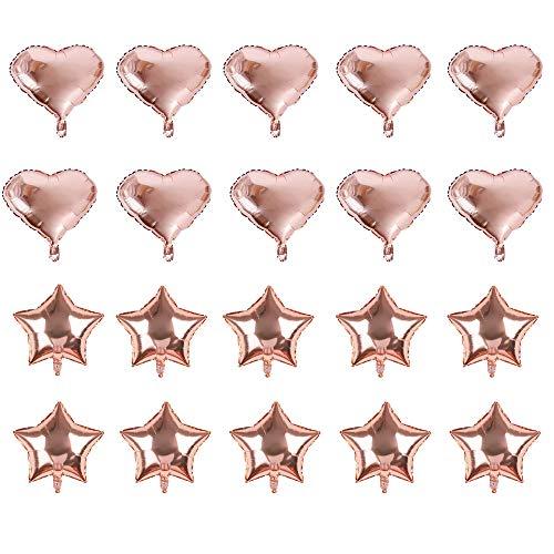 20 Piezas Globos de Aluminio Dorado de, 10 Piezas Forma de Corazón, 10 Piezas Forma de Estrella de , Cumpleaños, Boda, Decoración de Fiesta de Navidad(18 Pulgadas)