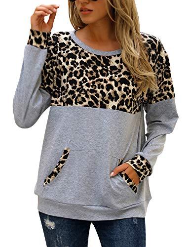 Blooming Jelly Women's LeopardPrintTops Crewneck Sweatshirt Loose LongSleeveShirts Color Block Pullover(Medium,Grey)