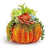 ArtificialPumpkin9.05InchLargeFakePumpkinwithFloralArrangementOrange Foam forTableHomeOutdoor DecorFallHarvestDecoration HalloweenThanksgiving (Orange)