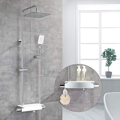 ubeegol Duschsystem Regendusche  mit Thermostat Duschset Duscharmatur mit Ablage Dusch Set inkl. Überkopfbrause 25 x 25 cm, Handbrause, Duschstange Edelstahl