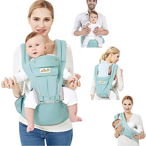 Viedouce Ergonomic Baby Carrier with Hip Seat for Front Back Carry Side Pockets Newborn Infant Toddler Child, Cyan
