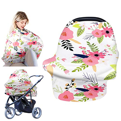 Nursing Covers for Breastfeeding, Baby Car Seat Cover Ups Soft and Breathable Infant Carseat Nursing Cover for Stroller High Chair Shopping Cart, Baby Shower Gift for Boys Girls