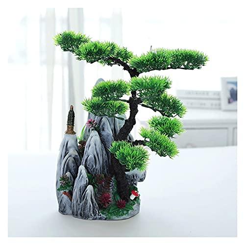 plantas artificiales Simule los pinos artificiales que crecen cerca de las plantas falsas de Rockery, de 14 pulgadas altas, utilizadas para ornamentales interiores y exteriores Plantas y flores artifi