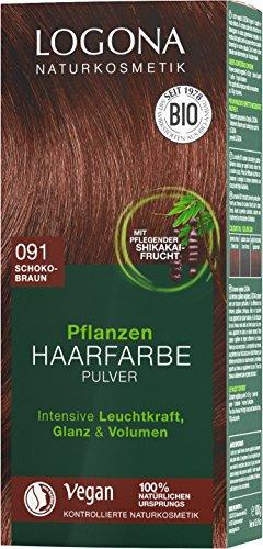 LOGONA Naturkosmetik Pflanzen-Haarfarbe Pulver 091 Schokobraun, Vegan & Natürlich, Braune Natur-Haarfarbe mit Henna & Shikakai, Coloration, 100g