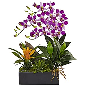 Silk Flower Arrangements Nearly Natural N/ADendrobium Orchid & Bromeliad Dendrobium Orchid and Bromeliad Silk Arrangement, Purple