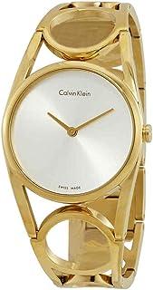 CALVIN KLEIN WHITE LABEL ROUND SILVER DIAL GOLD TONE WOMENS WATCH K5U2M546