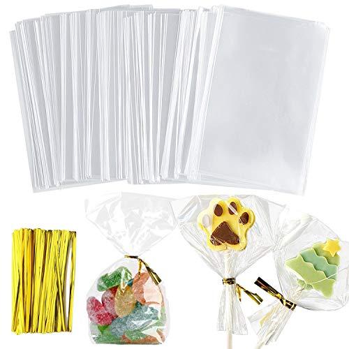 NEPAK 400pcs 10 x 15 cm Sac Plastique Transparent Sac OPP avec Liens Torsadés 10 cm pour Mariage Biscuits Cadeau Bonbon Alimentation Fourniture