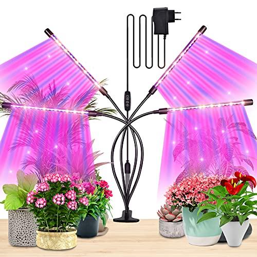 FIRINER Pflanzenlampe LED 18W Pflanzenleuchte with DC Power Adapter 84 LEDs 4 Köpfe Pflanzenlicht Anzucht Lampe 3 Farbmodi 9 Lichtintensitäten Wachstumslampe für Zimmerpflanzen, Gartenarbeit Bonsais