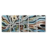 Contemporary Wall Art, Colorful Rainbow Wave Artwork - Large Handcrafted Boho Abstract Metal Decorative Wall Art - Modern Hanging Sculpture 5 Panels Ready to Hang (24Wx64L)