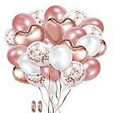XYDZ Juego de Globos de Confeti De Oro Rosa, 48 Piezas de Globos De Confeti de Látex Blanco de Oro Rosa con Forma de Corazón para Fiestas de Cumpleaños, Bodas, Decoración de Festivales