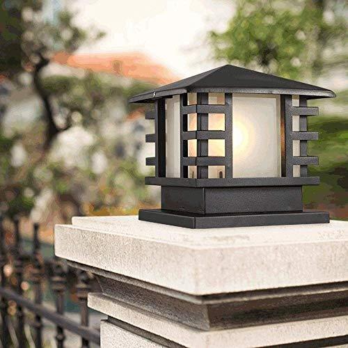 Outdoor Lighting Pillar Lamp Waterproof IP44 Column Lamp Post Light E27 Aluminum Alloy Glass Pedestal Lantern Traditional Square Classic Fence Lamps Villa Gate Landscape Light ( Size : XL-4029cm )