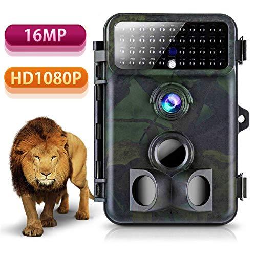 Wildkamera 16MP 1080P HD Tvird Beutekameras mit 125°Weitwinkel Infrarote 20m Nachtsicht, 42 IR LEDs, Wasserdichte IP66 Jagdkamera mit Bewegungsmelder zur Wildbeobachtung und Haussicherheit