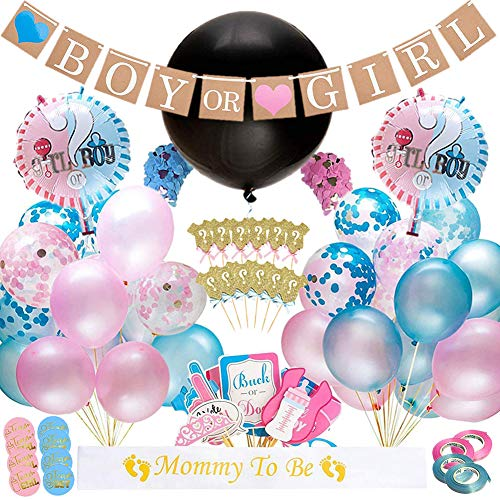 Xiangmall 103PCS Gender Reveal Party Baby Shower Decorazioni Reveal Palloncini Photo Props Baby Boy or Girl Banner Coriandoli Festa Cupcake Toppers