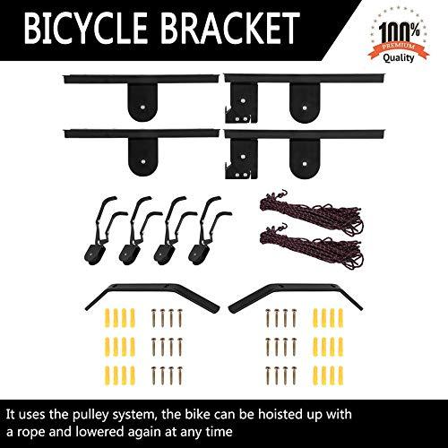 2 piezas de elevador de bicicleta, suspensión de montaje en techo, elevador de garaje, suspensión de garaje, polea, elevador, elevador, accesorios para bicicleta
