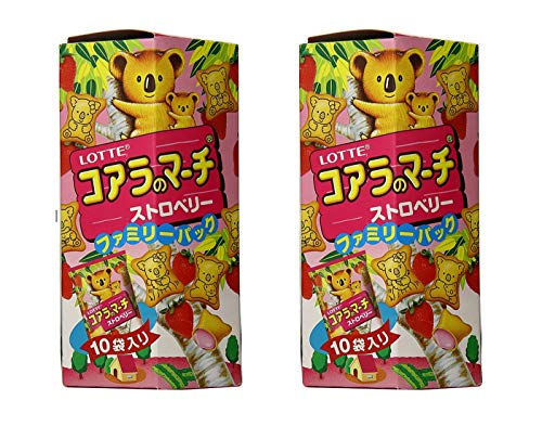 Lotte Koala's March Strawberry Creme Filled Cookies (2 Pack, Total of 13.78oz)