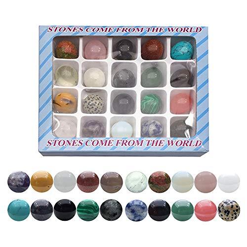 LQKYWNA 20pcs natürliche Gesteine ??Set, 20cm Polieredelsteine ??rund um die Welt Dekorative Stone Mineral Educational Sammlung