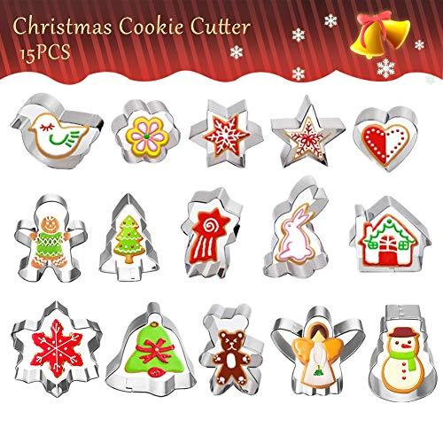 BHAHAI Juego de 15 moldes cortadores de Galletas de Acero Inoxidable con Forma de árbol de Navidad, diseño de muñeco de Nieve, ángel de Jengibre, corazón, Animales para niños
