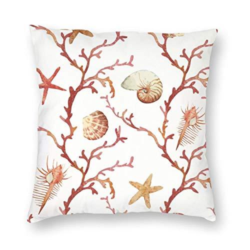 NiBBuns - Funda de almohada decorativa con diseño de corales, diseño de estrellas de mar, acuarela, para hombre y mujer, decoración del hogar, 45,7 x 45,7 cm