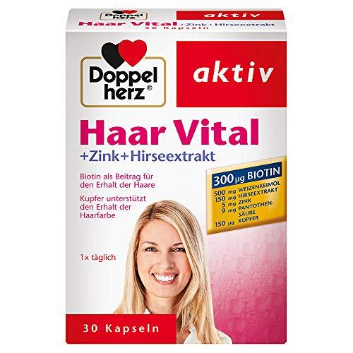 Doppelherz Haar Vital – Nahrungsergänzungsmittel mit Zink und Biotin zum Erhalt normaler Haare – 1 x 30 Kapseln