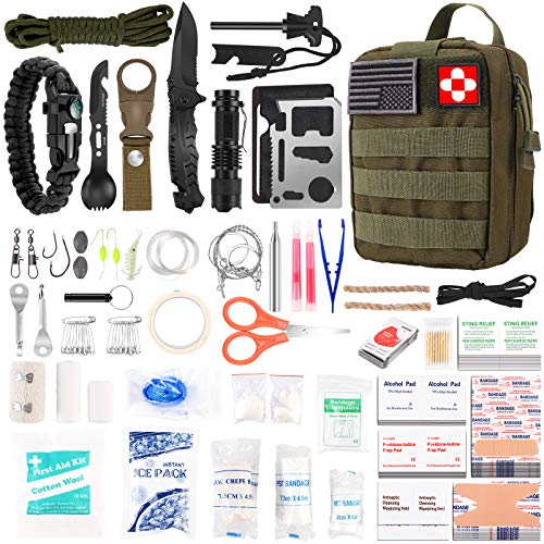 216 Pcs Survival First Aid kit, Professional Survival Gear Equipment Tools First Aid Supplies for...