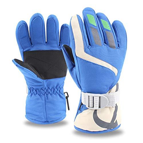 XIAOHAWANG Skihandschuhe Kinde Wasserdicht Fausthandschuhe 3-8Jahren Jungen Mädchen Handschuhe Winter Fingerhandschuhe,für Fahrrad Skifahren Wandern (Blau)