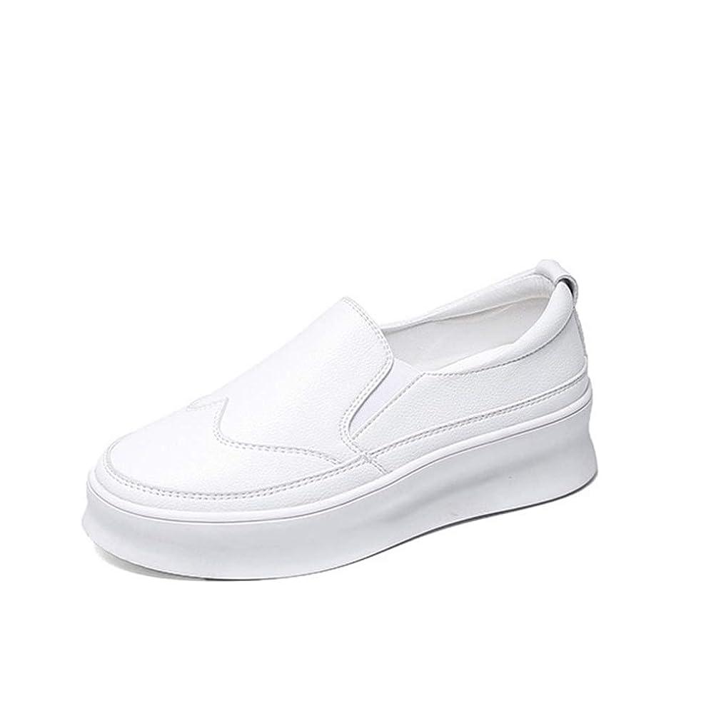 伝統付属品スマッシュ[シュウアン] レディーススニーカー スリッポン 厚底 インソール プラットフォームシューズ 身長を上げる マジックテープ 歩きやすい ホワイト プラットフォームシューズ 牛革 本革靴 通勤靴 春夏