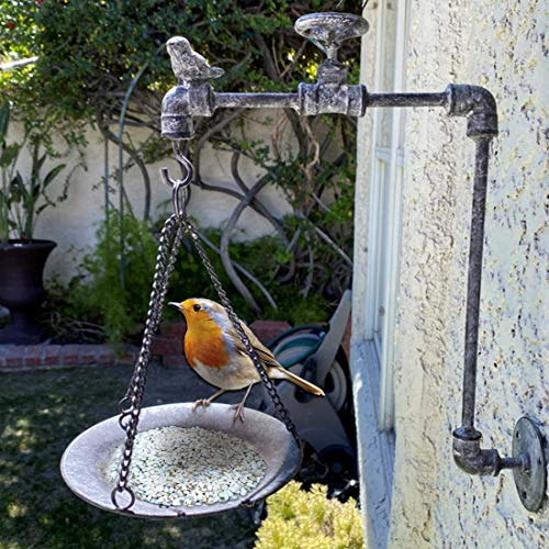 Lily's Home Rustic Country Distressed Faucet Wall Mount Hanging Bird Feeder, Bird Bath