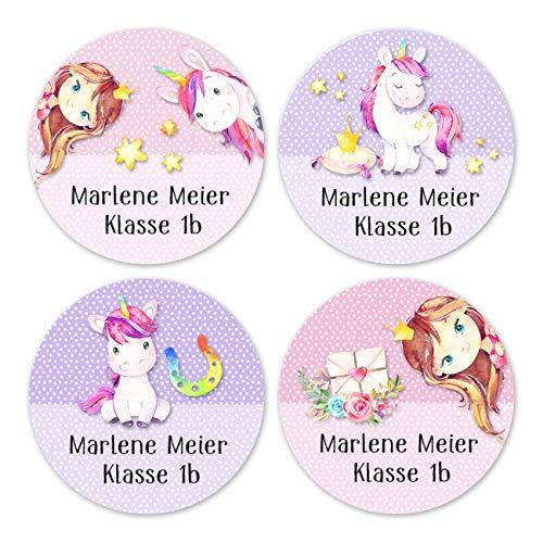 24 individuelle Aufkleber für Kinder - Motiv Einhörner und Prinzessinnen - personalisierte Sticker - Perfekt zur Einschulung - Geschenk für die Schule - Namensaufkleber und Schulbuchetiketten