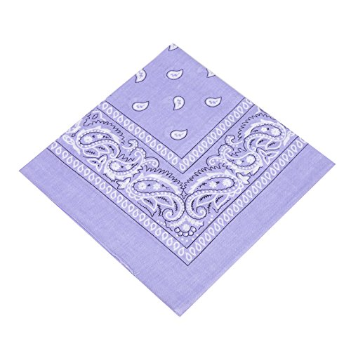 BOOLAVARD 1s, 6s, 9s or 12 Pack Cowboy Bandanas with Original Paisley Pattern (Lilac)