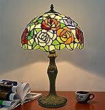 Lámpara de mesa de estilo tiffany, 12 'vidrieras rojas rojas rosa púrpura floral vintage decoración de luz de luz antigua luz de mesita de noche para barra de dormitorio sala de estar café regalo