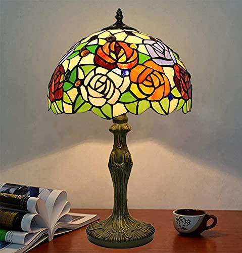 """Lámpara de mesa de estilo tiffany, 12 """"vidrieras rojas rojas rosa púrpura floral vintage decoración de luz de luz antigua luz de mesita de noche para barra de dormitorio sala de estar café regalo"""
